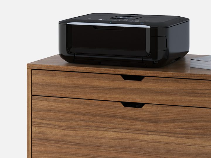 The Modica File Pedestal in walnut by BDI with locking drawer