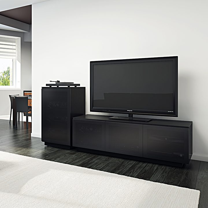 The modern Mirage Media Cabinet by BDI tinted grey doors and ample media storage