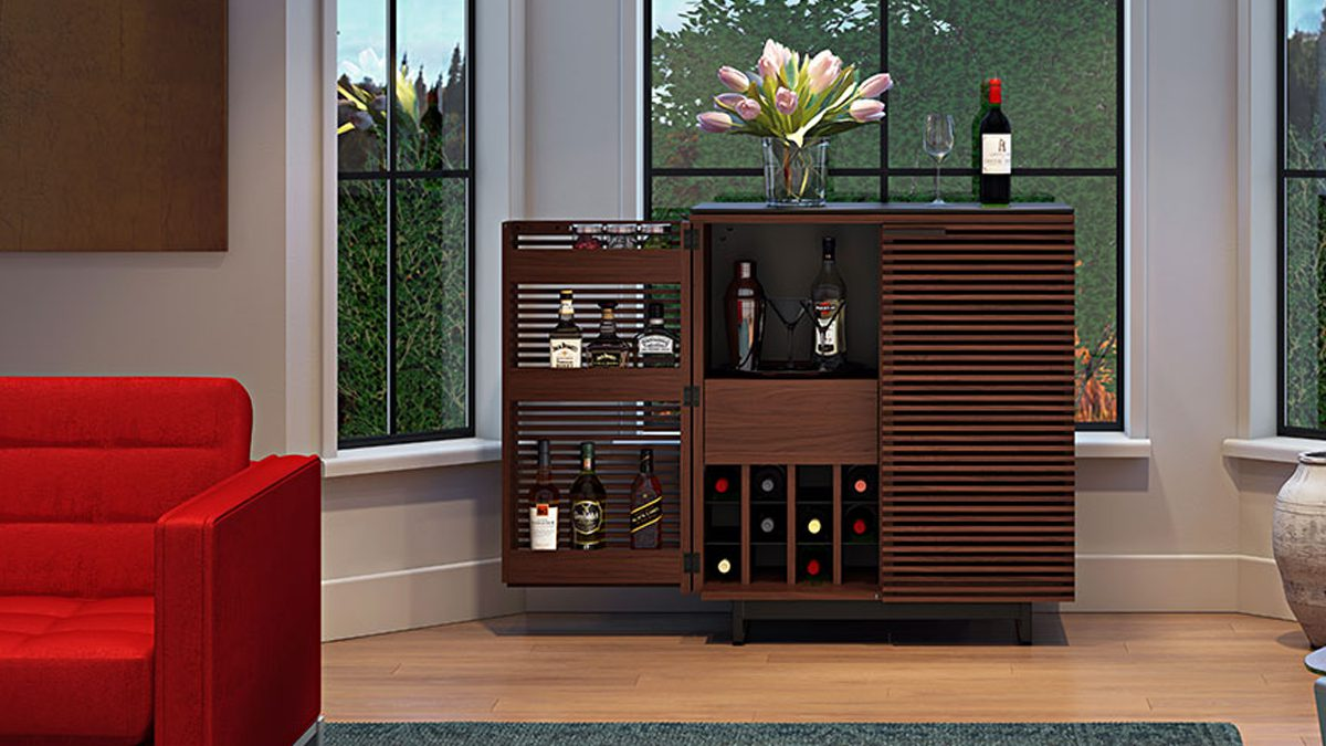 The BDI Corridor Bar Collection modern design with double louvered wood doors