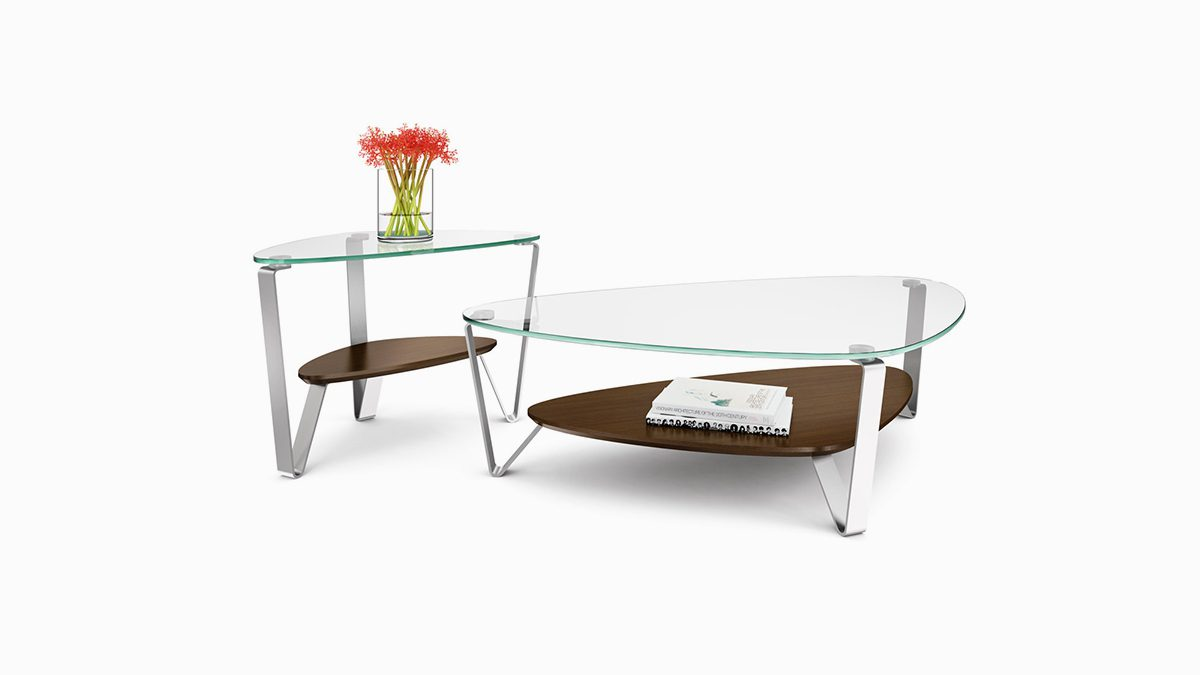 The Dino Table Collection by BDI elegant triangle design with tempered glass top