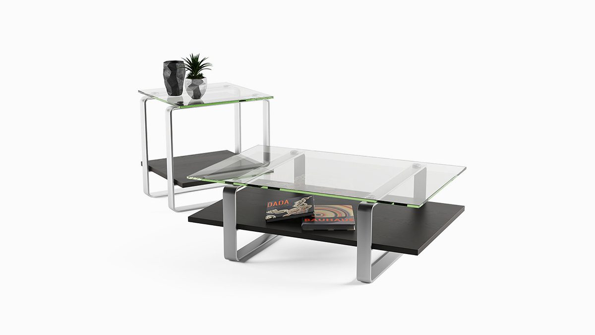The sleek BDI Stream Table Collection with innovative floating glass design