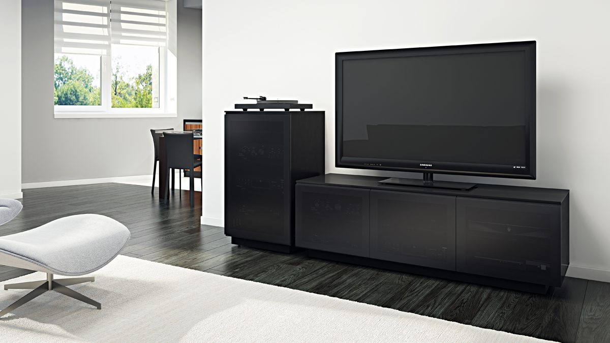 The Mirage Collection by BDI in black home entertainment system featuring Mirage Audio Tower and Mirage Media Cabinet