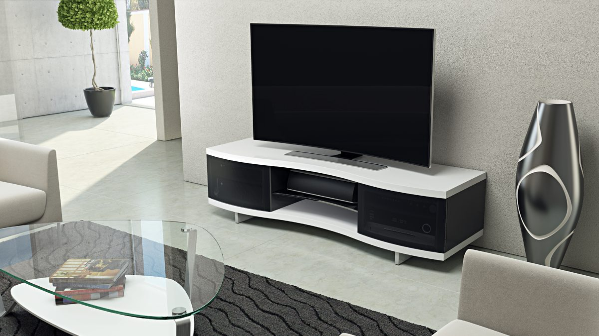 The Ola Collection by BDI elegant media cabinet with curve design