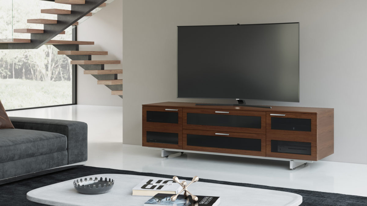 The Avion Media Cabinet in espresso modern home entertainment center