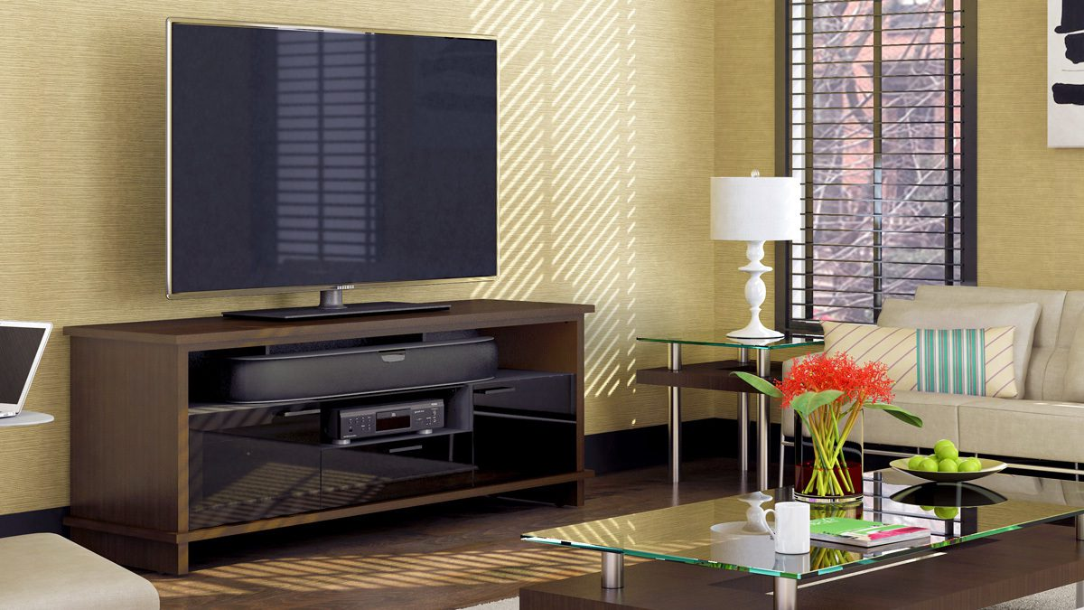 The Braden Collection by BDI modern Tv Cabinet featuring soundbar shelf