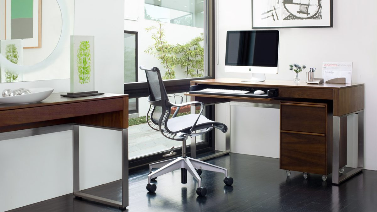 The Cascadia Office in Chocolate Walnut by BDI featuring Console Laptop Desk and Mobile File Cabinet