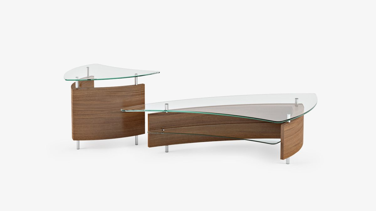 The Fin Table Collection by BDI sleek dynamic design with versatile lower shelf